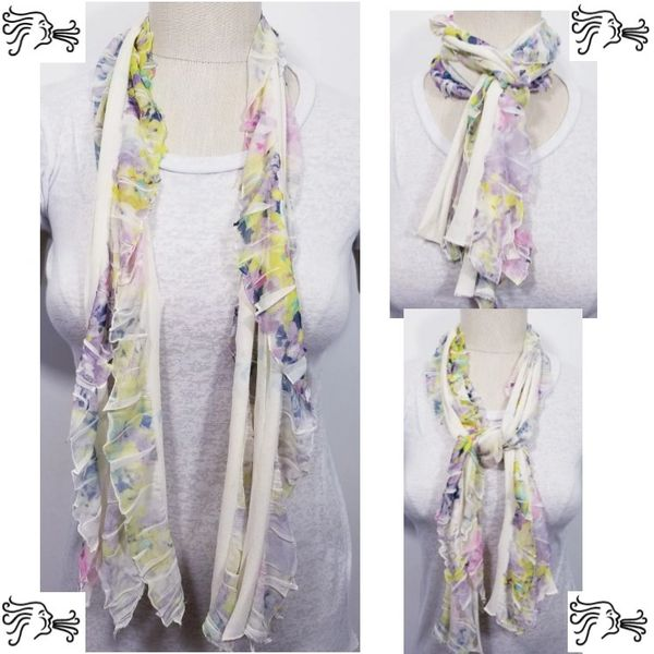 Pink Purple Yellow Floral Flutter Scarf