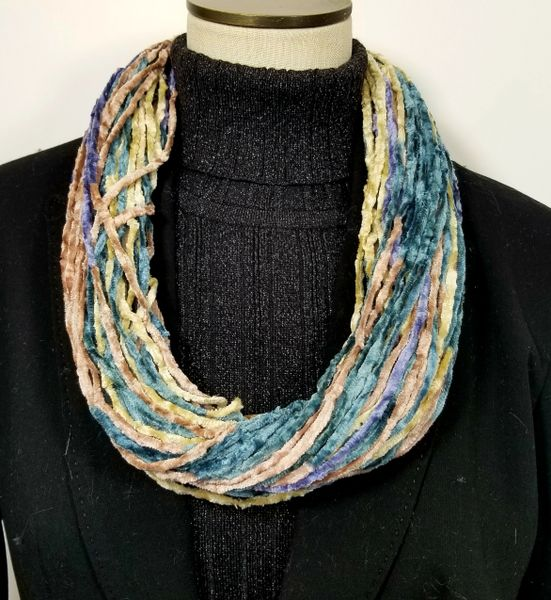 Blues Mauve Beige Frosted Almond Soft Velour Crushed Velvet Infinity Scarves with Magnetic Clasp Necklace