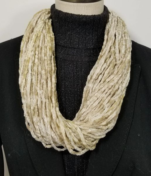 Cream Soft Velour Crushed Velvet Infinity Scarves with Magnetic Clasp Necklace
