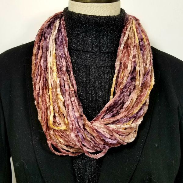 Toasted Plum Soft Velour Crushed Velvet Infinity Scarves with Magnetic Clasp Necklace