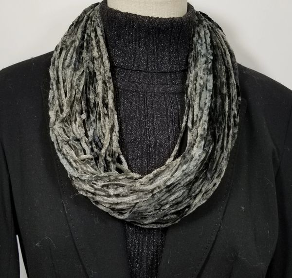 Mix of Black & Grays Soft Velour Crushed Velvet Infinity Scarves with Magnetic Clasp Necklace