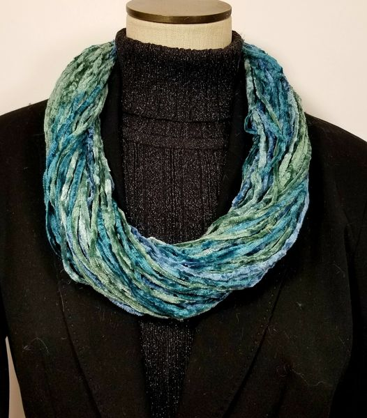 Mix of Blues & Greens Soft Velour Crushed Velvet Infinity Scarves with Magnetic Clasp Necklace