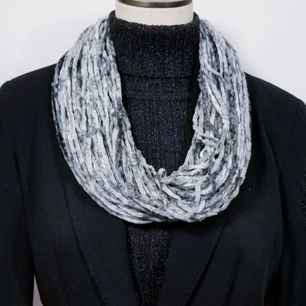 Soft Gray Soft Velour Crushed Velvet Infinity Scarves with Magnetic Clasp Necklace