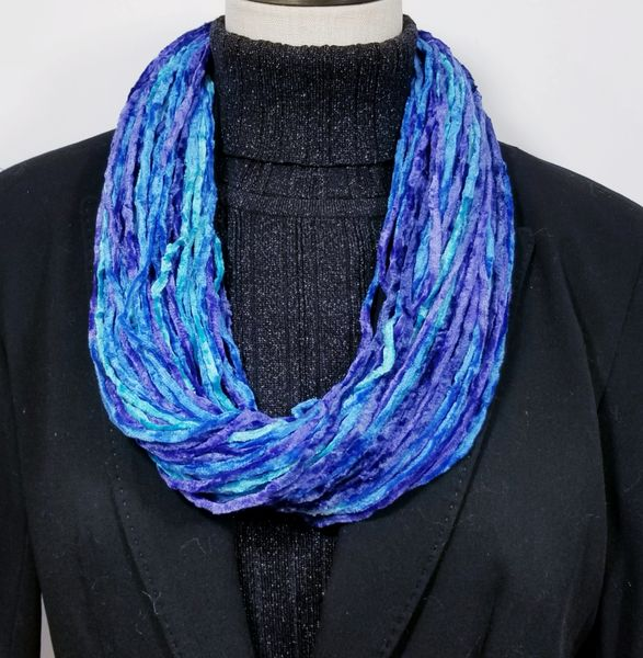 Blue Brilliance Soft Velour Crushed Velvet Infinity Scarves with Magnetic Clasp Necklace