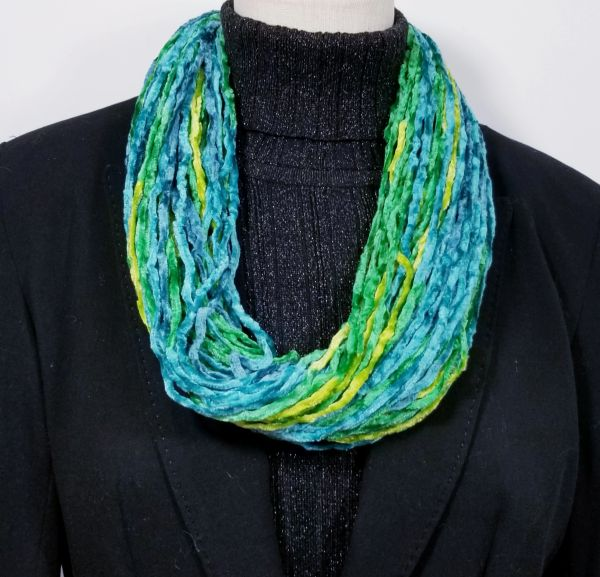 Tropical Greens Soft Velour Crushed Velvet Infinity Scarves with Magnetic Clasp Necklace