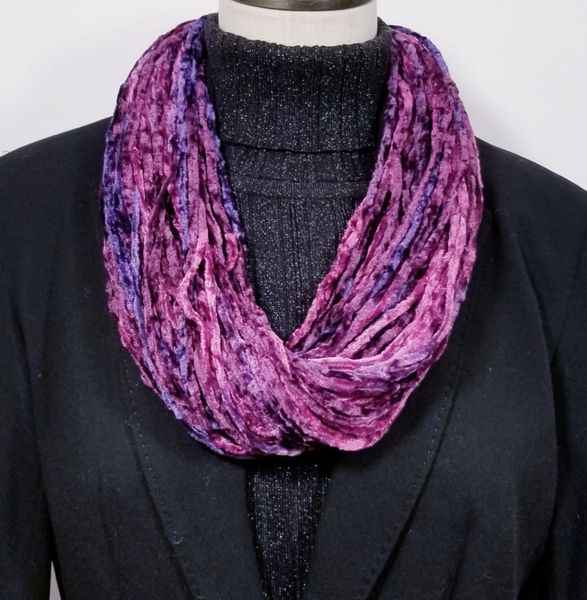 Burgundy Soft Velour Crushed Velvet Infinity Scarves with Magnetic Clasp Necklace