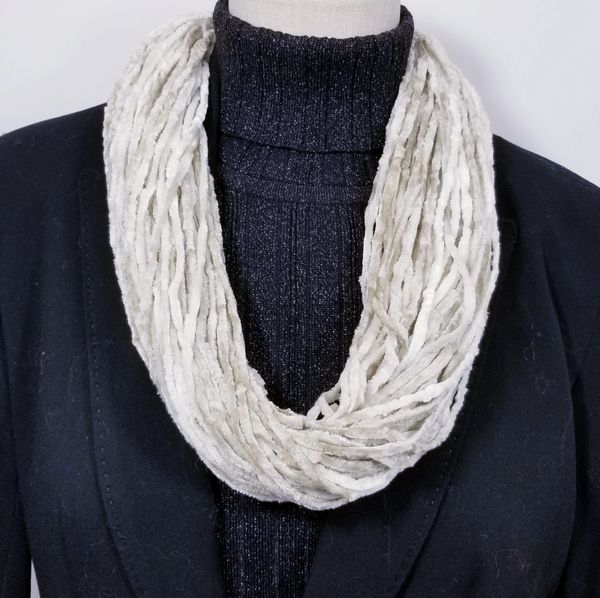 White Soft Velour Crushed Velvet Infinity Scarves with Magnetic Clasp Necklace