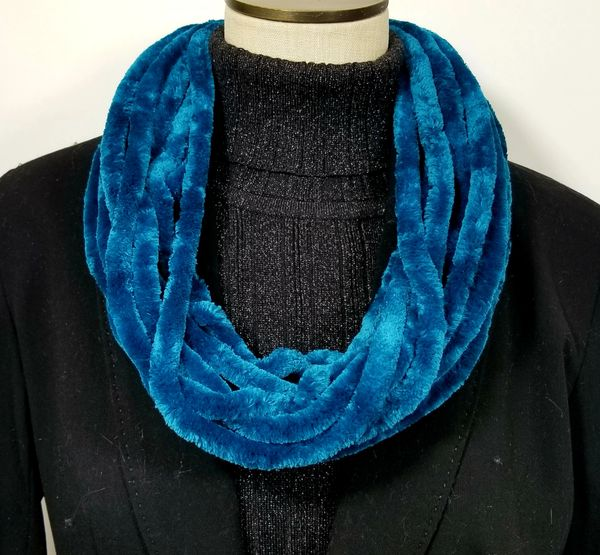 Teal Soft Velour Crushed Velvet Infinity Scarves with Magnetic Clasp Necklace