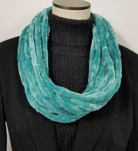 Mint Soft Velour Crushed Velvet Infinity Scarves with Magnetic Clasp Necklace