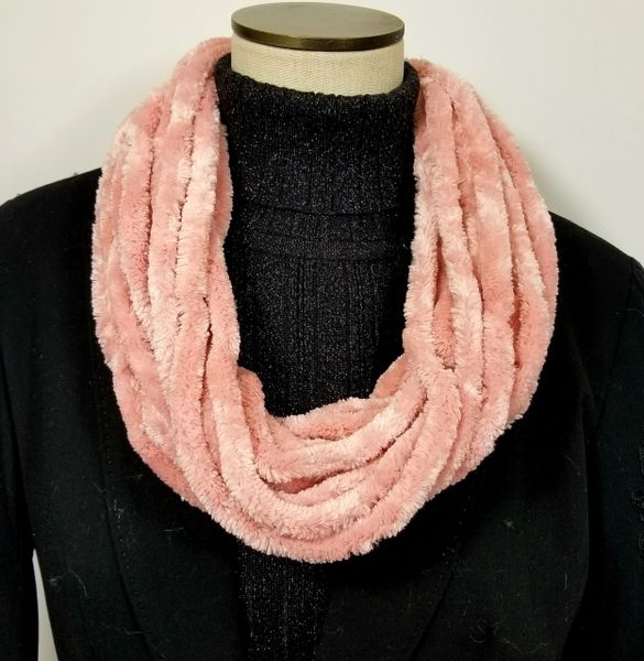 Blush Soft Velour Crushed Velvet Infinity Scarves with Magnetic Clasp Necklace