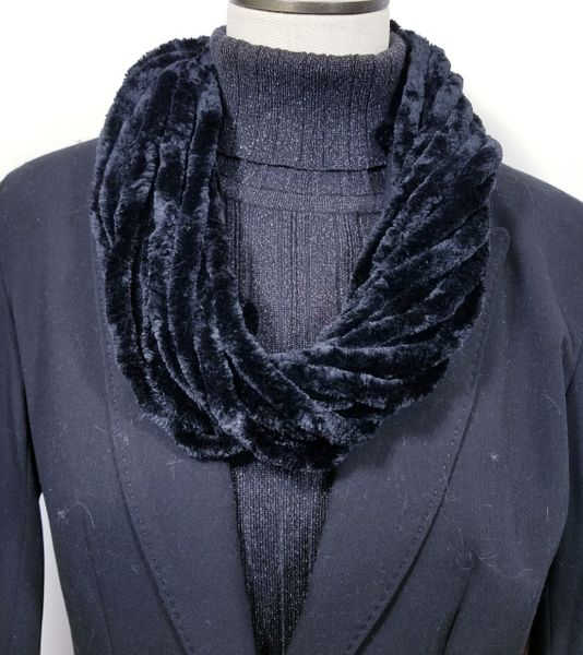 Black Soft Velour Crushed Velvet Infinity Scarves with Magnetic Clasp Necklace
