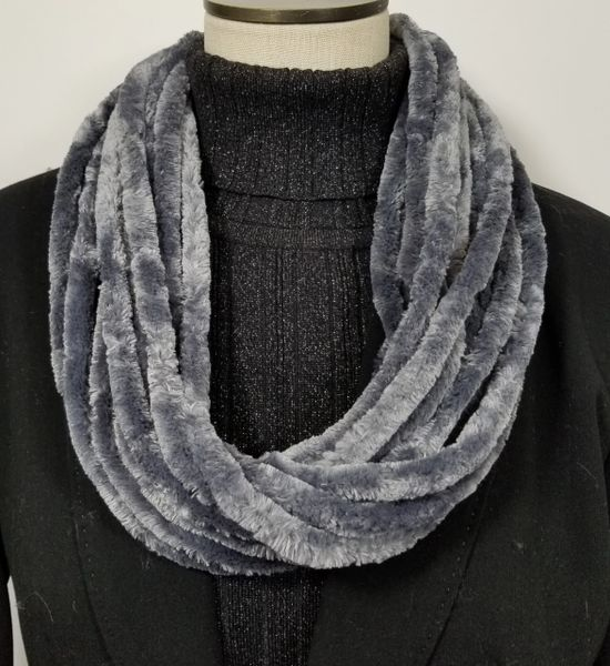 Gray Soft Velour Crushed Velvet Infinity Scarves with Magnetic Clasp Necklace