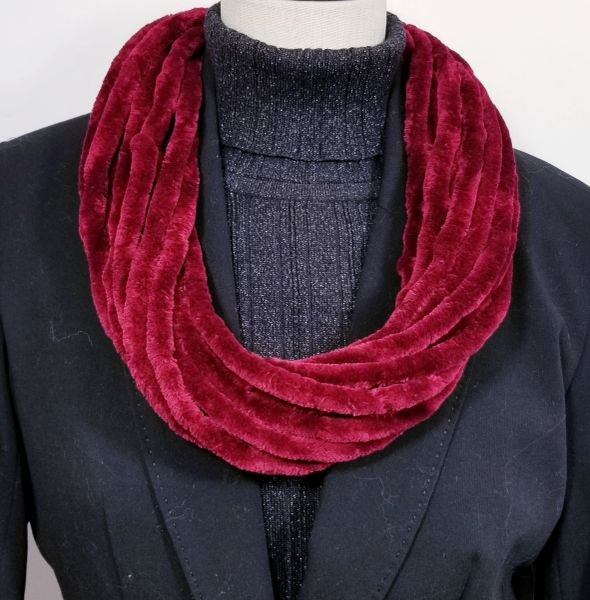 Ruby Red Soft Velour Crushed Velvet Infinity Scarves with Magnetic Clasp Necklace