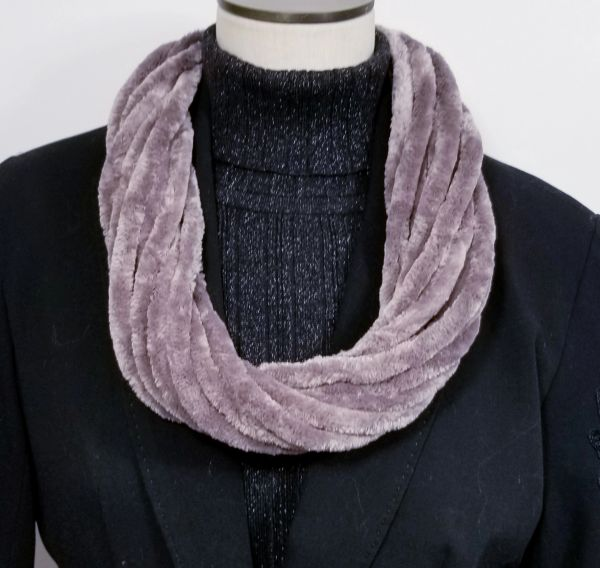 Taupe Soft Velour Crushed Velvet Infinity Scarves with Magnetic Clasp Necklace