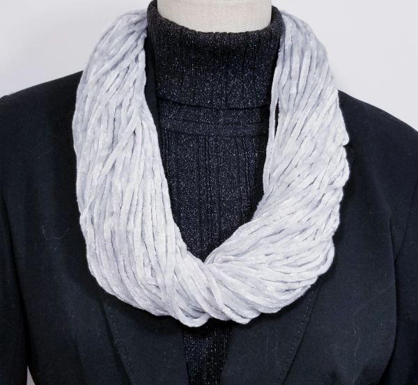 Misty Gray Soft Velour Crushed Velvet Infinity Scarves with Magnetic Clasp Necklace