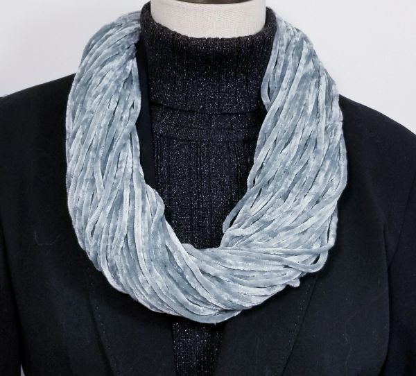 Mint Gray Soft Velour Crushed Velvet Infinity Scarves with Magnetic Clasp Necklace