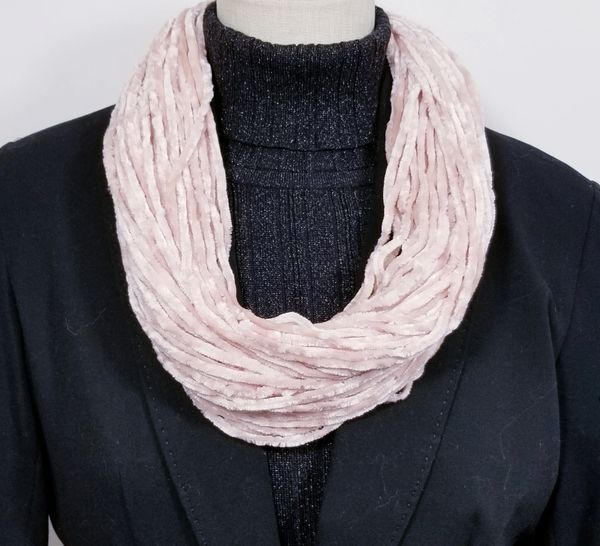 Dusty Pink Soft Velour Crushed Velvet Infinity Scarves with Magnetic Clasp Necklace