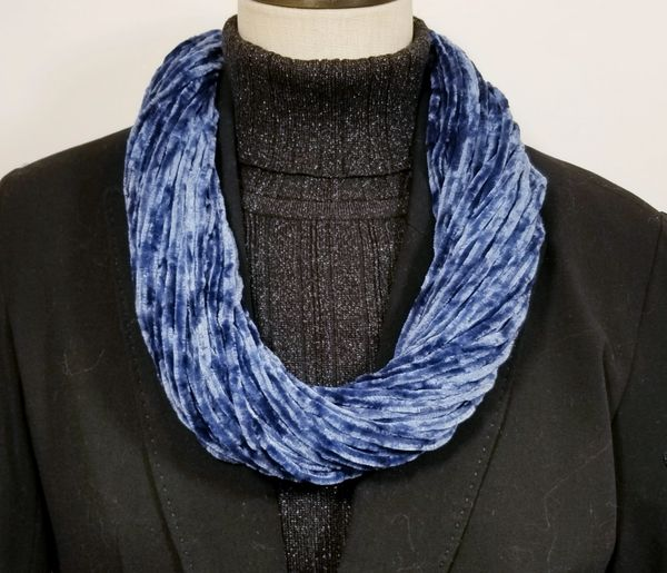 Navy Soft Velour Crushed Velvet Infinity Scarves with Magnetic Clasp Necklace
