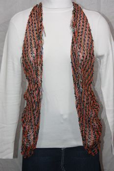 Woven Orange/Black/ Vest/Scarf