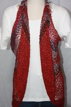 Woven Red/Black/Grey Vest/Scarf