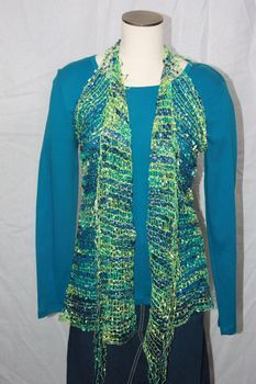 Woven Royal Blue/Aqua/Lime Green Vest/Scarf