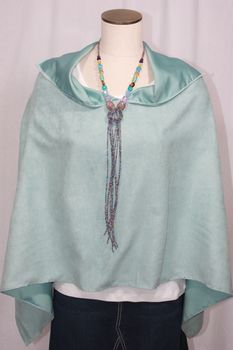 Handcrafted Aqua Ultrasuede Poncho