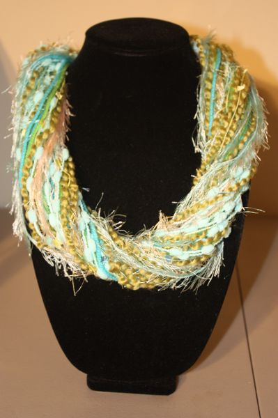 Olive Greens Mixed with Aqua Yarn Necklace Scarf