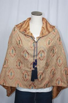 Handcrafted Light Brown Embroidered Ultrasuede Poncho