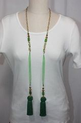 Tassel Stone and Bead Lariat Necklace