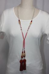 Tassel Stone and Bead Lariat Necklace Red and Tan