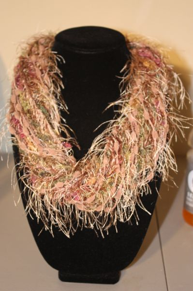 Light Brown/Mauve/Olive Green Yarn Necklace Scarf