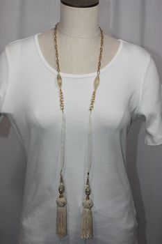 Tassel Stone and Bead Lariat Necklace Cream and Gold