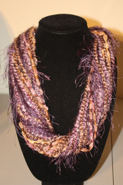 Heather Purple/Light Browns Yarn Necklace Scarf