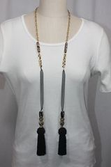 Tassel Stone and Bead Lariat Necklace Black and Gold