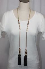 Tassel Stone and Bead Lariat Necklace Brown