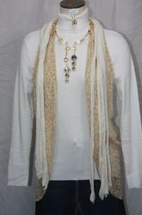 Cream with Gold Flecks Flutter Scarf
