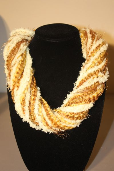 Mix of Butter Yellow Yarn Necklace Scarf