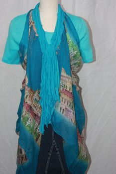 Turquoise Blue Flutter Scarf