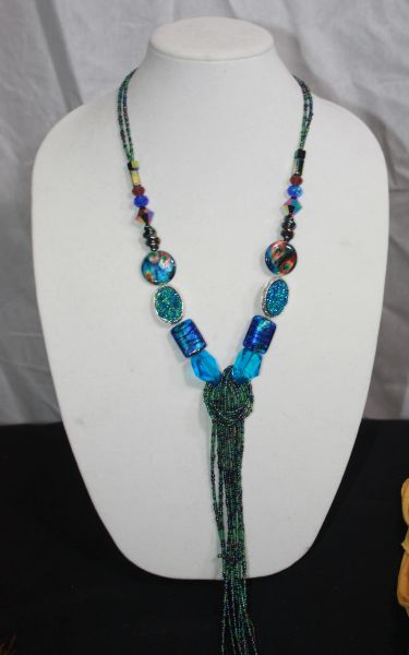 Turquoise Blue Beaded Knot Necklace