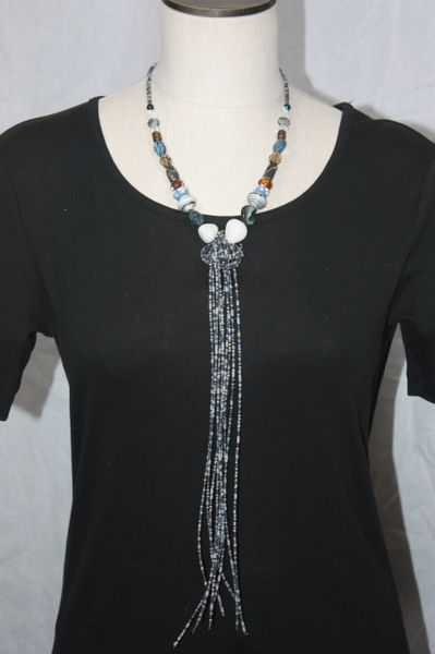 Grey, Blue and Brown Beaded Knot Necklace