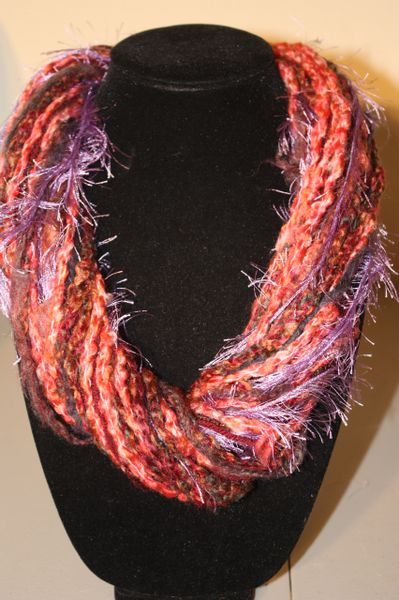 Burgandy/Purple/Melon Orange Yarn Necklace Scarf