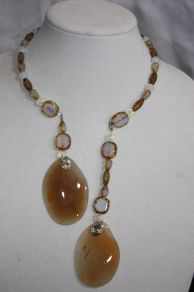 Window Cut Opalite and Agate Stone Double Dangle Necklace and Earring Set.
