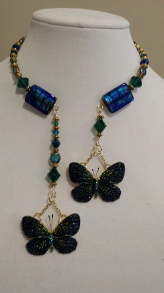 Deep Blue Butterfly and Crystal Stone Double Dangle Necklace and Earring Set.