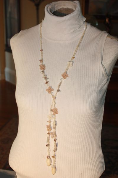 Off White Shell and Burlap Crocheted Sinew Daisy Chain Necklace Lariet