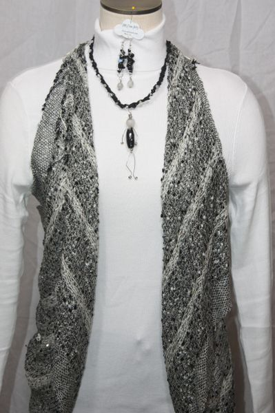 Black Recycled Sari Silk with Natural Stone Wired Necklace and Pebble Person Pendant Earring Set