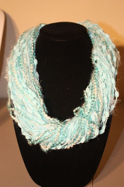 Mix of Aqua Yarn Necklace Scarf