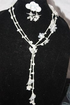 White Crocheted Irish Linen with Natural Stone and Lucite Necklace Lariet Earring Set
