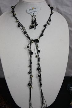 Black Hand Knotted Irish Linen with Dalmatian Jasper Stone and Black Glass Pearl Necklace Lariat Earring Set