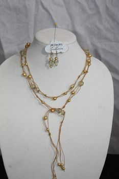 Golden Yellow Hand Knotted Irish Linen with Golden Yellow Glass Pearl and Crystal Necklace Lariat Earring Set