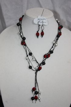 Black Hand Knotted Irish Linen with Black, White Glass Pearl and Ladybug Bead Necklace Lariat Earring Set